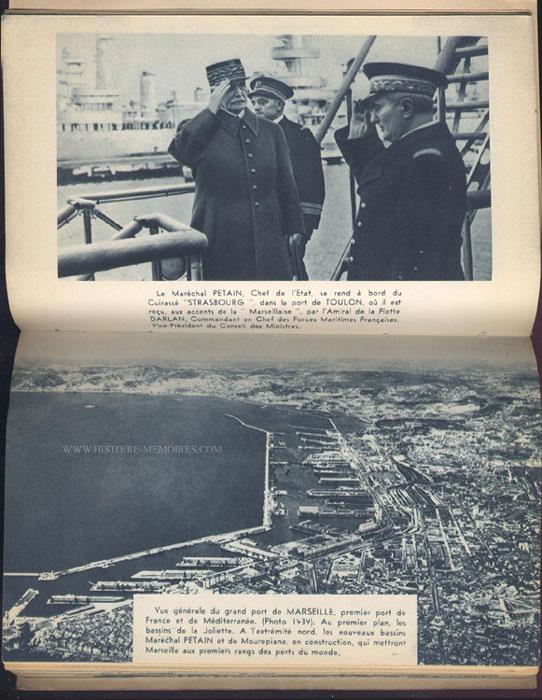 Pétain sur le cuirassé Strasbourg à toulon, livre en tbe,70 € en vente sur www.histoire-memoires.com/almanach-du-marin-1942.htm