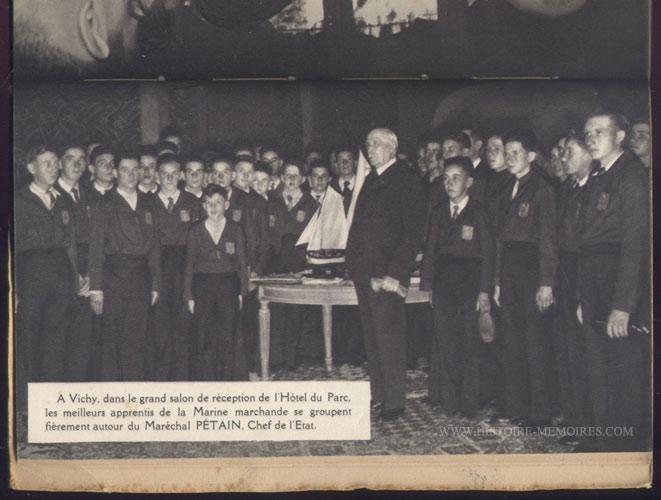 illustration photo pleine petain et les apprentis de la marine marchande, livre en tbe,60 € en vente sur www.histoire-memoires.com/almanach-du-marin-1942.htm