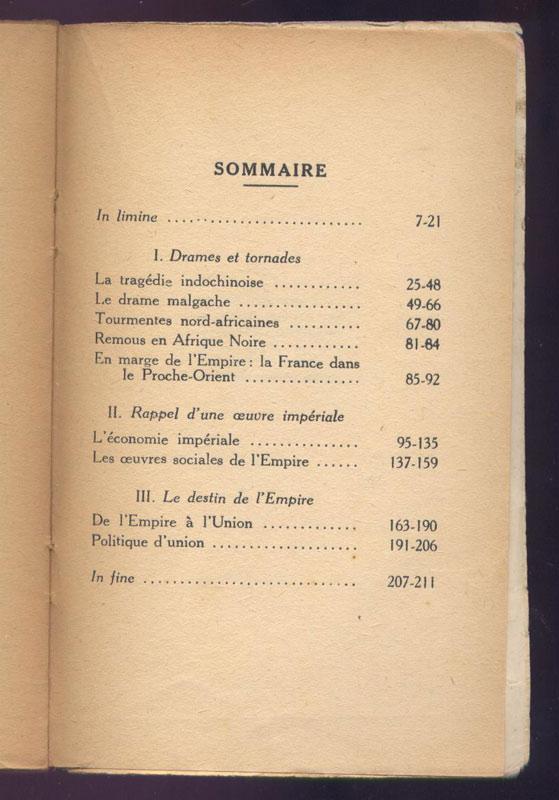 sommaire du livre : Léon Cayla, Terres d'Outre-Mer - Destin d'un Empire