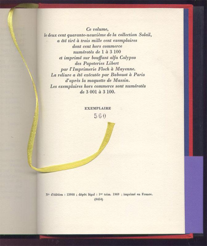 Edition Gallimard, collection Soleil, 1969