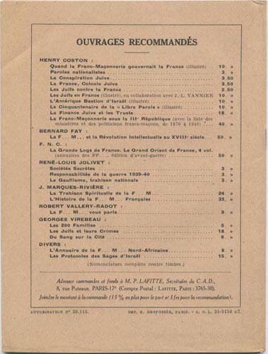 Verso du fascicule : Le Bourrage de Crane