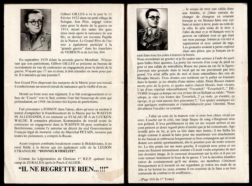 Auteur: Gilbert Gilles,Titre: Un ancien waffen ss francais raconte, en 2 volumes, Publishing Gold Mail Internationanl, Editon originale,1989, livres en tbe, en vente sur www.histoire-memoires.com/gilles-gilbert-un-ancien-de-la-waffen-ss-raconte-en-2-volumes.htm