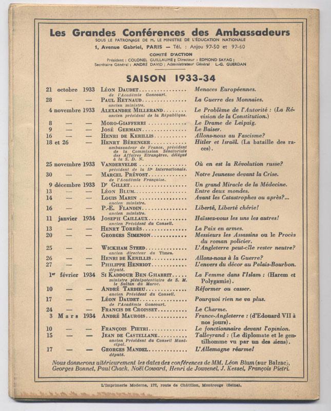 Philippe HENRIOT,  L'envers du décor au Palais-Bourbon, Collection : Les Grandes Conférences des Ambassadeurs, Editions des Ambassadeurs 1934 - Edition Originale