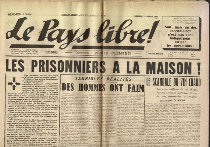 Clémenti Pierre, journal le Pays Libre, 1er mars 1941, hebdomadaire, Organe de presse du Parti Français National Collectiviste en vente sur www.histoire-memoires.com/clementi-le-pays-libre-1-02-1941.htm