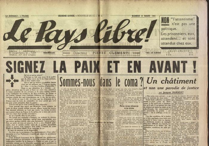 Clémenti Pierre, journal le Pays Libre, 8 mars 1941, hebdomadaire, Organe de presse du Parti Français National Collectiviste en vente sur www.histoire-memoires.com/clementi-le-pays-libre-8-03-1941.htm