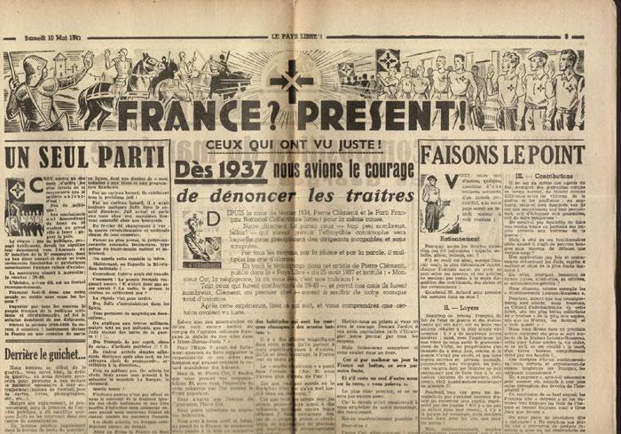 Clémenti Pierre, journal le Pays Libre, 10 Mai 1941, hebdomadaire, Organe de presse du Parti Français National Collectiviste en vente sur www.histoire-memoires.com/clementi-le-pays-libre-10-05-1941.htm