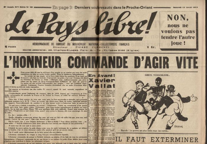 Clémenti Pierre, journal le Pays Libre, 12 Avril 1941, hebdomadaire, Organe de presse du Parti Français National Collectiviste en vente sur www.histoire-memoires.com/clementi-le-pays-libre-12-04-1941.htm
