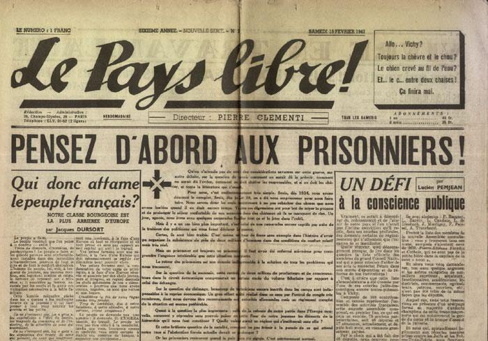 Clémenti Pierre, journal le Pays Libre, 15 février 1941, hebdomadaire, Organe de presse du Parti Français National Collectiviste en vente sur www.histoire-memoires.com/clementi-le-pays-libre-15-02-1941.htm