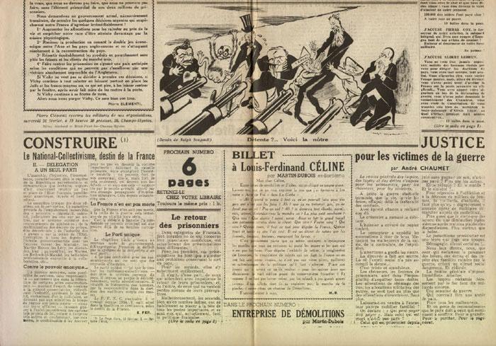 Clémenti Pierre, journal le Pays Libre, 15 février 1941, hebdomadaire, Organe de presse du Parti Français National Collectiviste en vente sur www.histoire-memoires.com/clementi-le-pays-libre-22-02-1941.htm