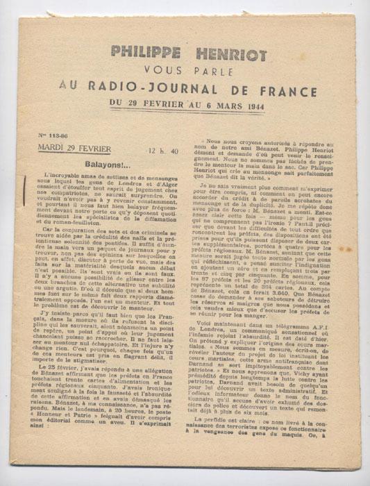 Auteur : PHILIPPE HENRIOT, Titre : PHILIPPE HENRIOT vous parle au radio-journal de France, fascicules aggraphé, Radio-Vichy : allocutions prononcés du 29  Février au 6 Mars 1944, EO, 16 €, en vente sur www.histoire-memoires.com/henriot-vous-parle-radio-journal-29-fevrier-au-6-mars-1944.htm