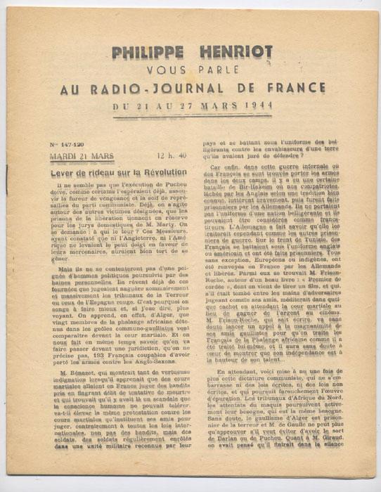 Auteur : PHILIPPE HENRIOT, Titre : PHILIPPE HENRIOT vous parle au radio-journal de France, fascicules aggraphé, Radio-Vichy : allocutions prononcés du 21 au 27 Mars 1944, EO, 16 €, en vente sur www.histoire-memoires.com/henriot-vous-parle-radio-journal-du-21-au-27-mars-1944.htm