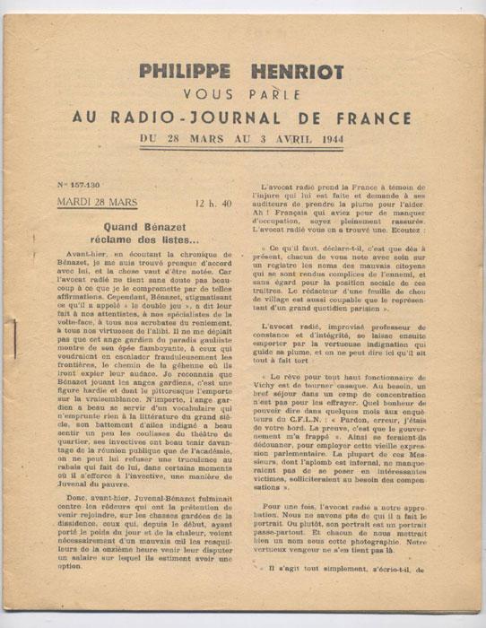 Auteur : PHILIPPE HENRIOT, Titre : PHILIPPE HENRIOT vous parle au radio-journal de France, fascicules aggraphé, Radio-Vichy : allocutions prononcés du 28 Mars  au 3 Avril 1944, EO, 16 €, en vente sur www.histoire-memoires.com/henriot-vous-parle-radio-journal-du-28-mars-au-3-avril-1944.htm