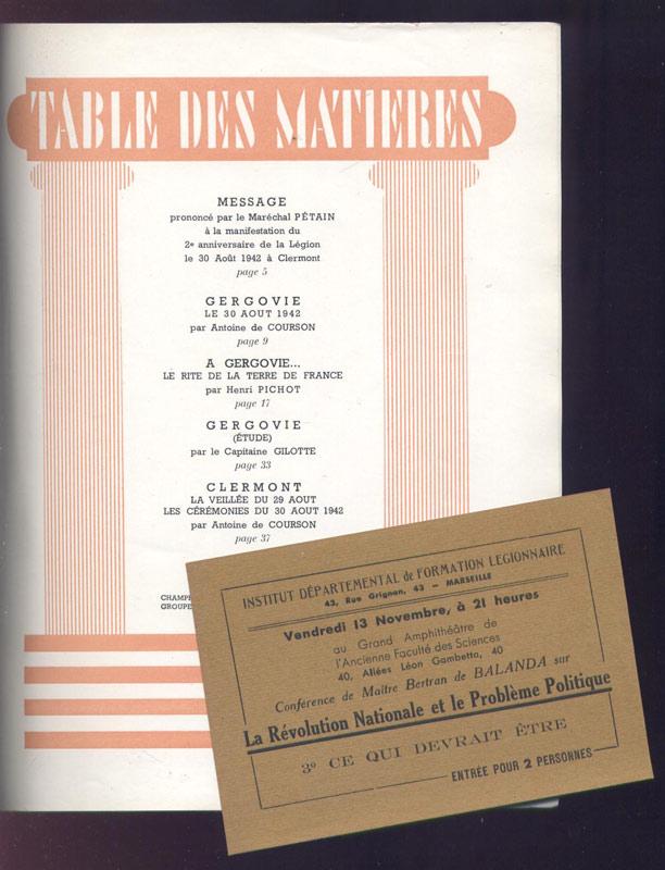 Gergovie, revue Anniversaire de la Légion 30 Août 1942, Est joint une Carte d'entrée pour deux personnes, de l' Institut Départemental de Formation Légionnaire, pour assister à Marseille à une conférence de Bertran de Balanda sur la Révolution Nationale et le Problème Politique