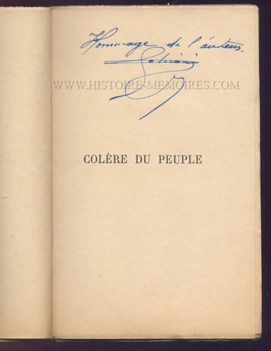 Hommage de Sabiani sur la page de titre de colère du peuple de Simon Sabiani, autographe, livre en tbe, en vente sur www.histoire-memoires.com/sabiani-colere-du-peuple.htm