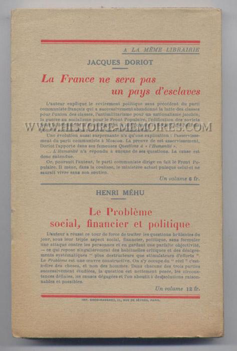 colère du peuple de Simon Sabiani, verso de la couverture, livre en tbe, en vente sur www.histoire-memoires.com/sabiani-colere-du-peuple.htm