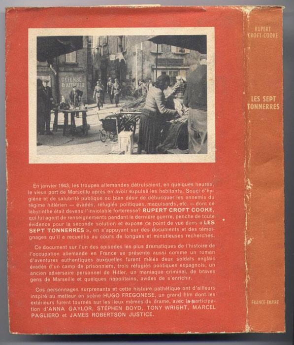 RUPERT, CROFT-COOKE, SEPT TONNERRES MARSEILLE, occupation, vichy, destruction, vieux port,  destruction du panier, 1943