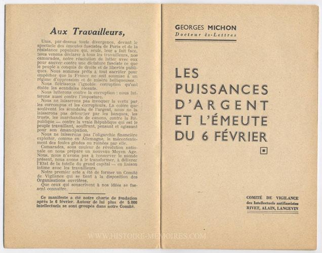 Le manifeste : Aux travailleurs ( 5 mars 1934 ) est le texte fondateur du Comité de vigilance des intellectuels antifascistes,Editeur : Imp. Centrale de la Bourse Paris 1934
