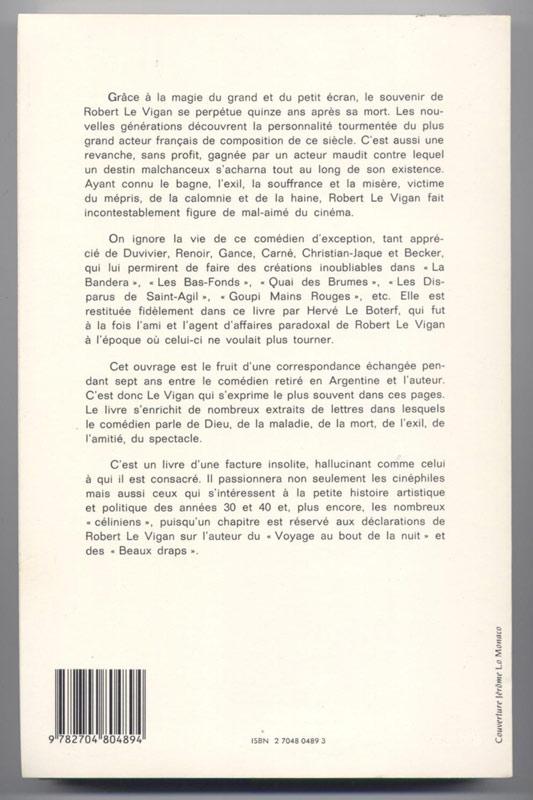 Hervé LE BOTERF : LE VIGAN le mal aimé du Cinéma suivi des confessions du comédien - Ed. FRANCE-EMPIRE 1986, collaboration, cinema, guerre