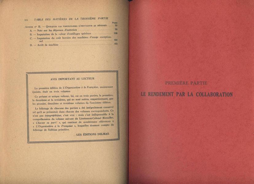 """Organisation """"A la Française"""", Lte. colonel RIMAILHO 3 volumes en un : Le Rendement par la Collaboration, Etablissement des Prix de Revient, Préparation,Exécution,Contrôle"""