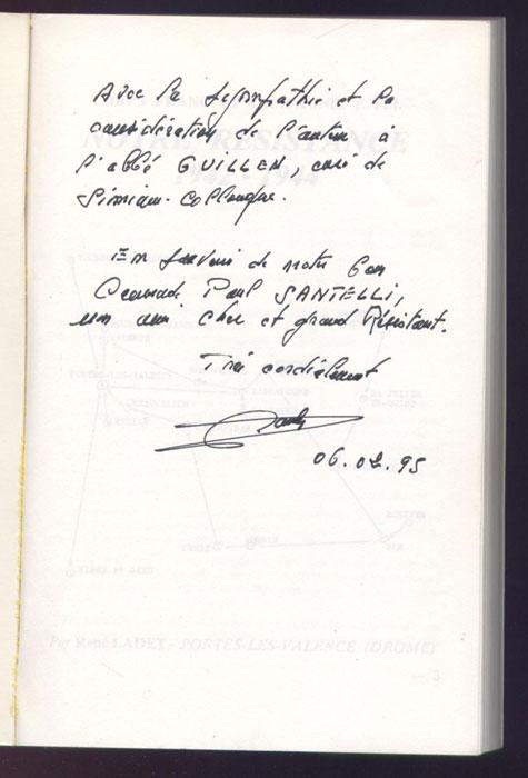 Photo de la page de titre avec un envoi autographe, dédicace à un camarade de résistance et de déportation