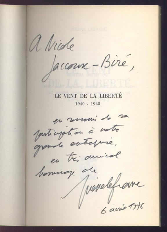 Pierre Lefranc, Le vent de la Liberté , 1940 - 1945,couverture