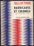 Merry et Serge Bromberger-Georgette Elgey-Jean-François Chauvel-Barricades et Colonels- le 24 Janvier 1960- Librairie Arthème Fayard-1960,algerie, francaise
